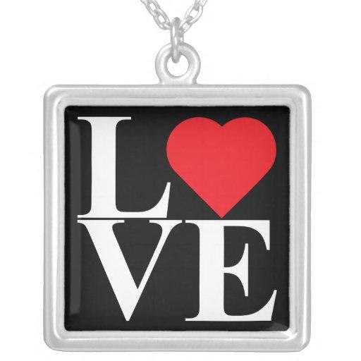 Pop Art Love Square Pendant Necklace