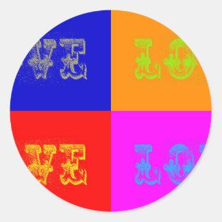 Pop Art Love Classic Round Sticker