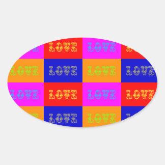 Pop Art Love Oval Sticker