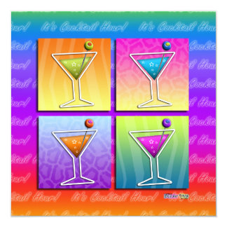 Pop Art MARTINIS Party INVITATION (sq)