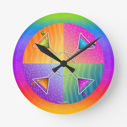 Pop Art MARTINIS Round WALL CLOCK
