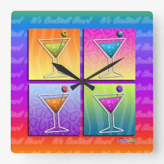 Pop Art MARTINIS Square WALL CLOCK