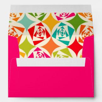 Pop Art Mod Retro Rose Pattern Bridal Shower A7 Envelope