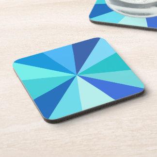 Pop Art Modern 60s Funky Geometric Rays in Blue Beverage Coaster