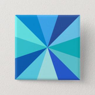 Pop Art Modern 60s Funky Geometric Rays in Blue Button