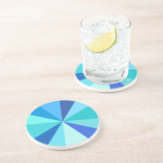 Pop Art Modern 60s Funky Geometric Rays in Blue Coaster