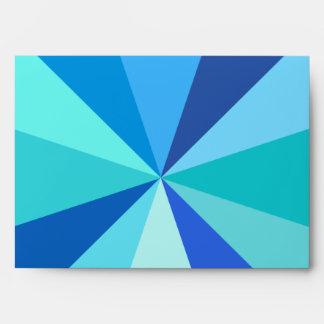 Pop Art Modern 60s Funky Geometric Rays in Blue Envelope