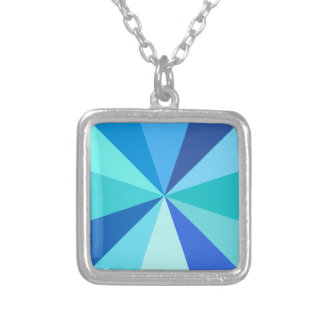 Pop Art Modern 60s Funky Geometric Rays in Blue Silver Plated Necklace