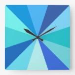 Pop Art Modern 60s Funky Geometric Rays in Blue Square Wall Clock