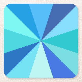 Pop Art Modern 60s Funky Geometric Rays in Blue Square Paper Coaster