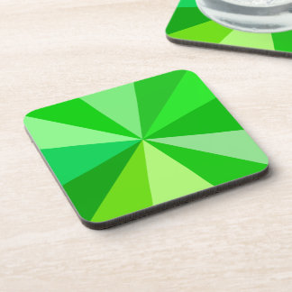 Pop Art Modern 60s Funky Geometric Rays in Green Drink Coaster