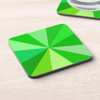 Pop Art Modern 60s Funky Geometric Rays in Green Drink Coaster