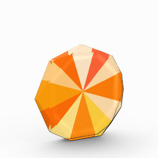 Pop Art Modern 60s Funky Geometric Rays in Orange Acrylic Award
