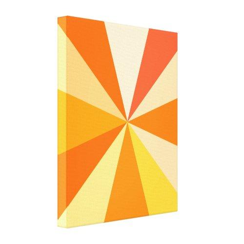 Pop Art Modern 60s Funky Geometric Rays in Orange Canvas