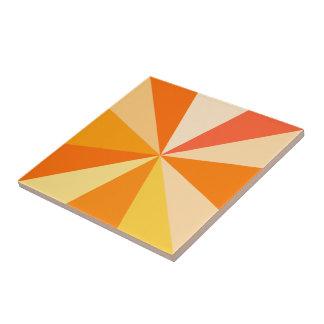 Pop Art Modern 60s Funky Geometric Rays in Orange Ceramic Tile