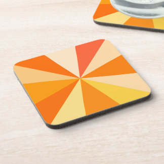 Pop Art Modern 60s Funky Geometric Rays in Orange Coaster