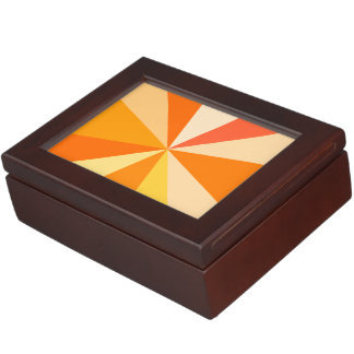 Pop Art Modern 60s Funky Geometric Rays in Orange Keepsake Box