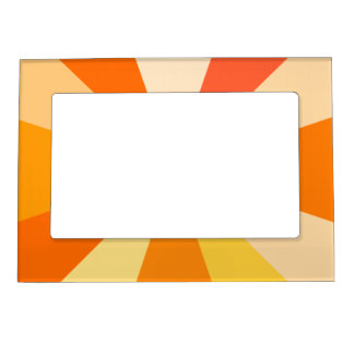 Pop Art Modern 60s Funky Geometric Rays in Orange Magnetic Photo Frames