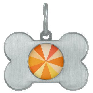 Pop Art Modern 60s Funky Geometric Rays in Orange Pet ID Tag