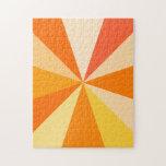 Pop Art Modern 60s Funky Geometric Rays in Orange Puzzle