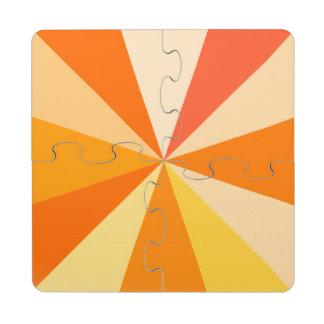 Pop Art Modern 60s Funky Geometric Rays in Orange Puzzle Coaster