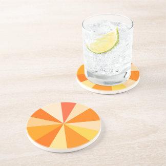 Pop Art Modern 60s Funky Geometric Rays in Orange Sandstone Coaster