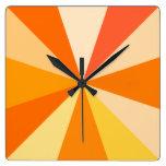 Pop Art Modern 60s Funky Geometric Rays in Orange Square Wall Clock