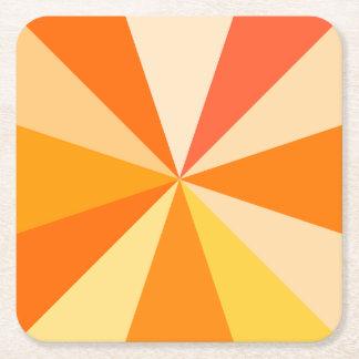 Pop Art Modern 60s Funky Geometric Rays in Orange Square Paper Coaster