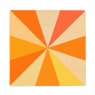 Pop Art Modern 60s Funky Geometric Rays in Orange Wood Coaster