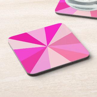 Pop Art Modern 60s Funky Geometric Rays in Pink Coaster