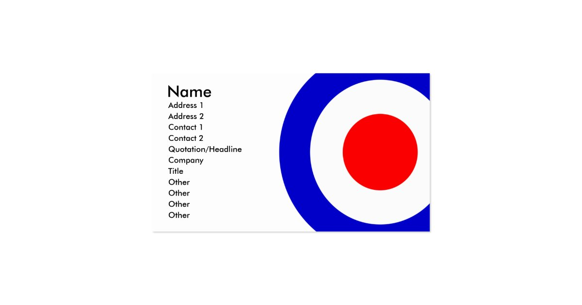 Pop art mods target business card zazzle for Target business cards