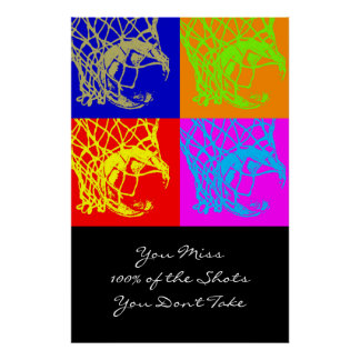 Pop Art Motivational Aim Quote Basketball Print