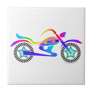 Pop Art MOTORCYCLE Cermaic Tile, Coaster or Trivet Ceramic Tile