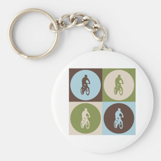 Pop Art Mountain Biking Keychain