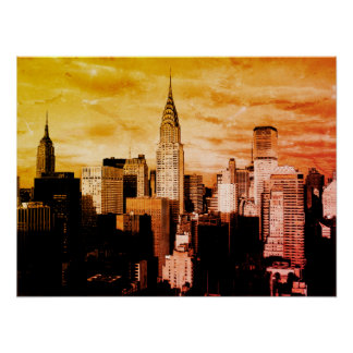 Pop Art New York City Ink Sketch Poster
