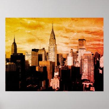 USA Themed Pop Art New York City Ink Sketch Poster