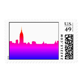 Pop Art New York City Manhattan Silhouette Postage