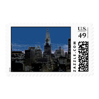 Pop Art New York City Night Postage Stamps