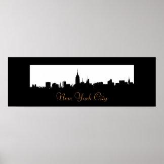 Pop Art New York City Skyline Silhouette Poster