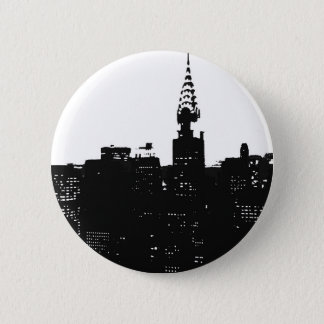 Pop Art New York Silhouette Button