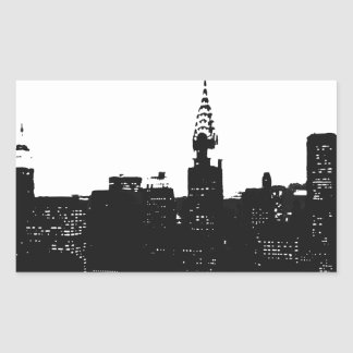 Pop Art New York Silhouette Rectangular Sticker