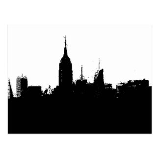 Pop Art New York Skyline Silhouette Postcard