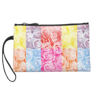 Pop art of roses overlay multiple colors water wristlet clutch
