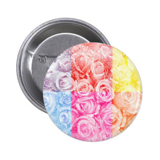 Pop art of roses overlay multiple colors water button