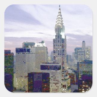 Pop Art Oil Paint Effect New York Square Sticker