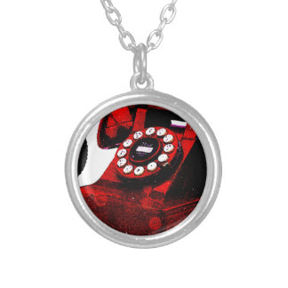 Pop Art Old Desk Telephone Box Silver Plated Necklace
