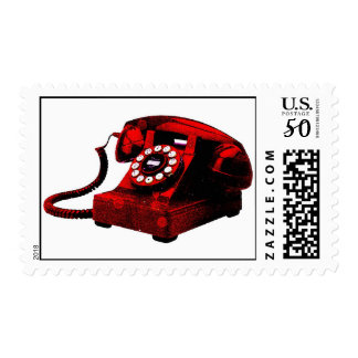 Pop Art Old Desk Telephone Box Stamp