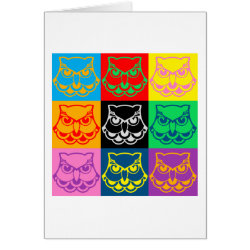 Greeting Card with Pop Art Owl Face design