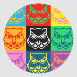 Round Sticker with Pop Art Owl Face design