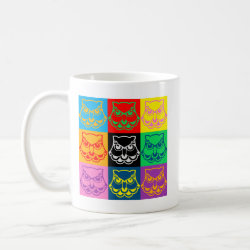 Classic White Mug with Pop Art Owl Face design